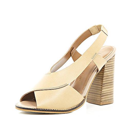 Nude leather cross strap block heel sandals