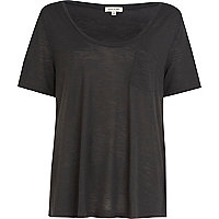 Dark grey low scoop t-shirt