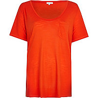 Bright red low scoop t-shirt