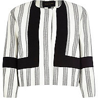 Cream boucle stripe colour block jacket