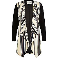 Beige striped longline waterfall jacket