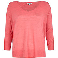 Bright pink linen split back top