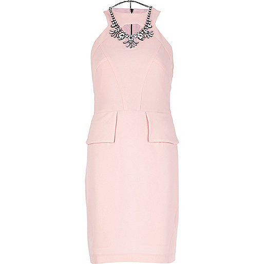 Light pink cut out peplum dress