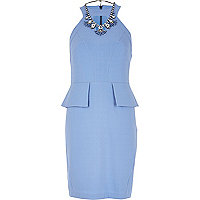 Light blue cut out peplum dress