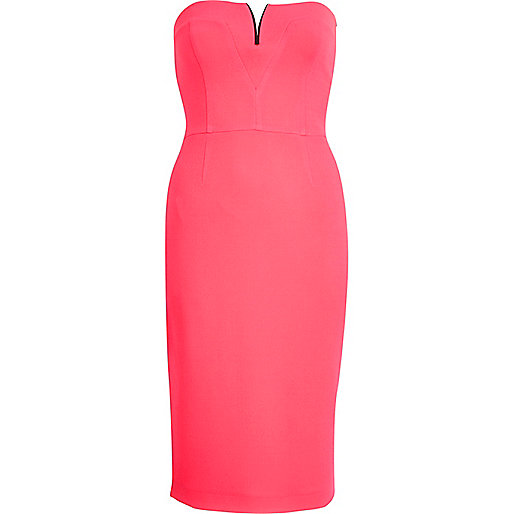 Pink metal trim bandeau pencil dress