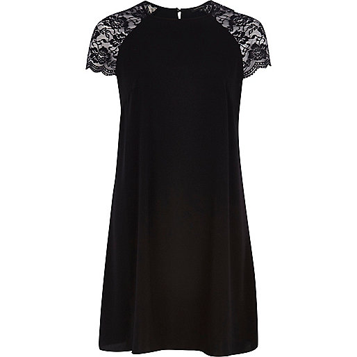 Black lace sleeve swing dress
