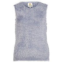 Blue eyelash knit tank jumper