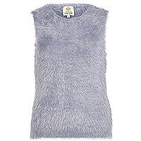 Blue eyelash knit tank jumper