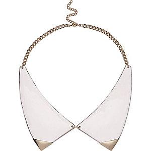 White enamel collar necklace