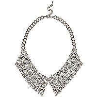 Silver tone diamante collar necklace
