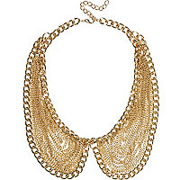 Gold tone draped chain collar necklace