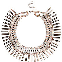 Gold tone encrusted collar necklace