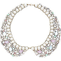 Crystal gem and pearl collar