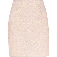 Light pink baroque jacquard mini skirt