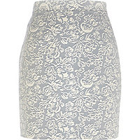 Light grey floral jacquard mini skirt
