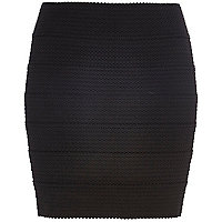Black bandage mini skirt