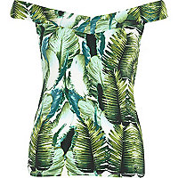 Green palm leaf print cross back bardot top