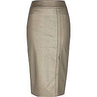 Bronze leather-look split front pencil skirt