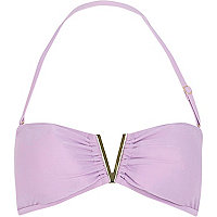 Lilac V detail bandeau bikini top