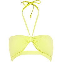 Yellow textured cut out bandeau bikini top