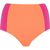 Pink colour block high waisted bikini bottoms