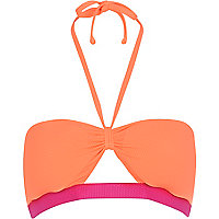 Pink colour block cut out bandeau bikini top