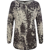 Grey abstract print tunic
