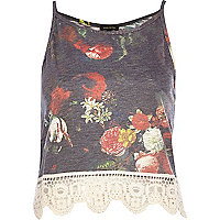 Black floral crochet hem cami top