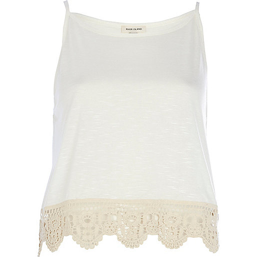 Cream crochet hem cami top