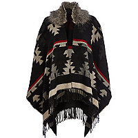 Black aztec print faux fur trim cape