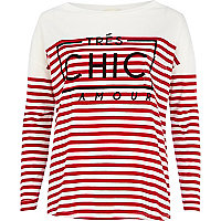 Red stripe tres chic l'amour t-shirt