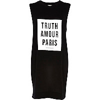 Black truth amour Paris print tank dress