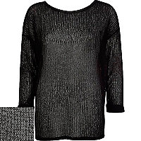 Black fine knit leather-look trim top