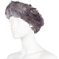 Grey faux fur head band
