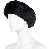 Black faux fur head band