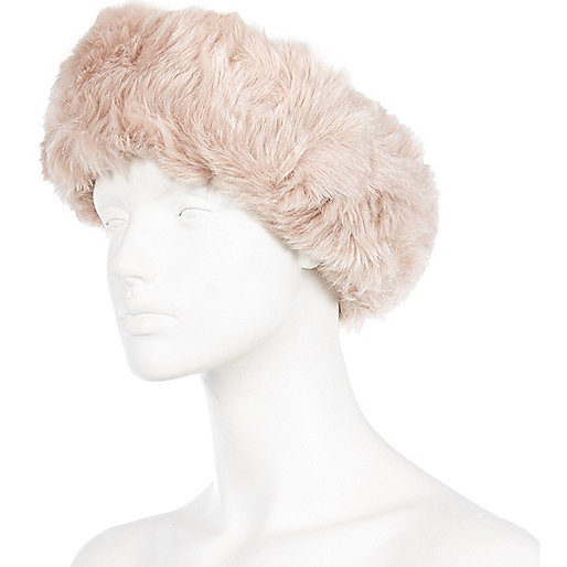 Light pink faux fur head band