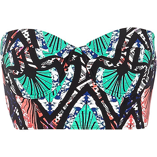 Turquoise tribal print bustier bikini top