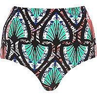 Turquoise tribal high waisted bikini bottoms