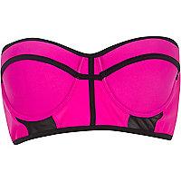 Bright pink mesh insert bustier bikini top