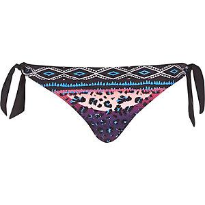 Purple tribal print tie side bikini bottoms