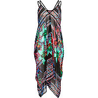 Black tropical print cocoon dress