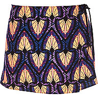 Blue tribal print wrap skort