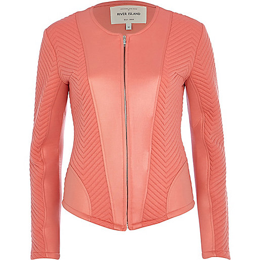 Coral textured jersey jacket