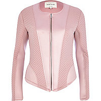 Light pink textured jersey jacket