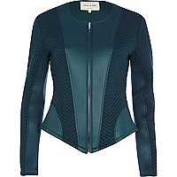 Teal textured jersey jacket