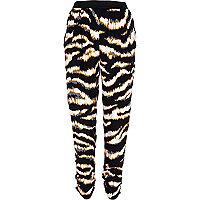 Black zebra print joggers