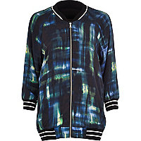Dark green check bomber jacket