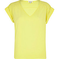 Yellow V neck woven t-shirt