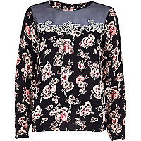 Navy floral sheer yoke victoriana blouse