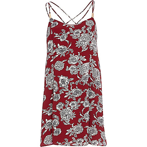 Red floral print swing cami dress